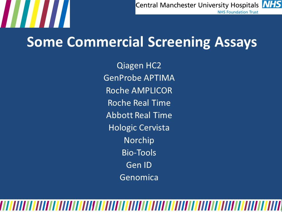 Some Commercial Screening Assays Qiagen HC2 GenProbe APTIMA Roche AMPLICOR Roche Real Time Abbott Real Time Hologic Cervista Norchip Bio-Tools Gen ID