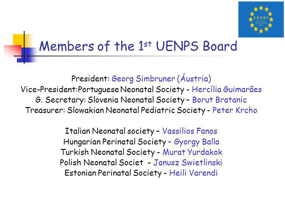 Members of the 1 st UENPS Board President: Georg Simbruner (Áustria) Vice-President:Portuguese Neonatal Society - Hercília Guimarães G.