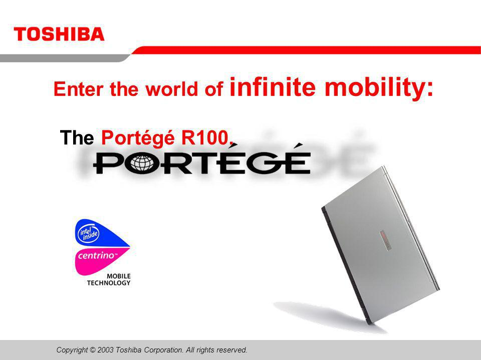 June 200412/Portégé R100 Sales Presentaion12 Toshiba Console Button –One touch access to critical system management applications and utilities Customize your computer Troubleshoot network connections Secure system access with supervisor and user passwords End user programmable End users can enhance productivity by triggering most useful application Internet Browser, E-mail, or end user selected program
