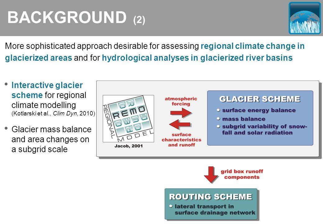 BACKGROUND (2) More sophisticated approach desirable for assessing regional climate change in glacierized areas and for hydrological analyses in glaci