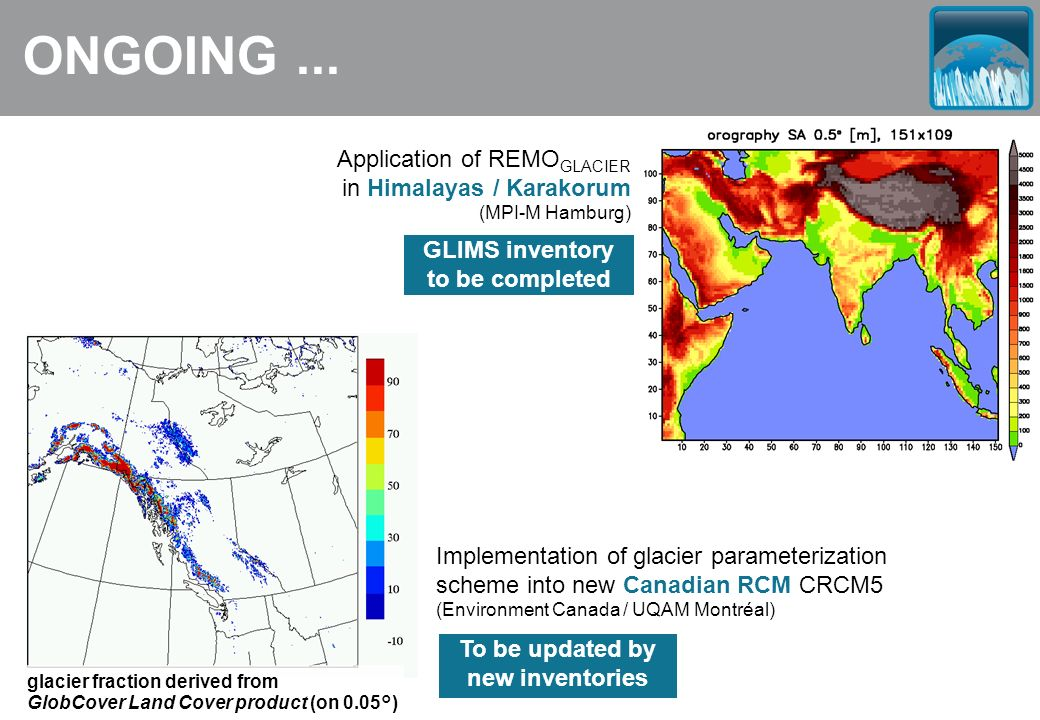 ONGOING... Application of REMO GLACIER in Himalayas / Karakorum (MPI-M Hamburg) Implementation of glacier parameterization scheme into new Canadian RC