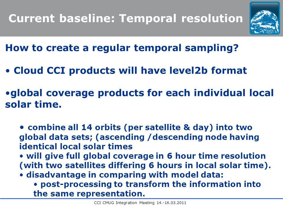 CCI CMUG Integration Meeting 14.-16.03.2011 Current baseline: Temporal resolution How to create a regular temporal sampling.