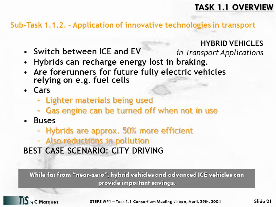 STEPS WP1 – Task 1.1 Consortium Meeting Lisbon, April, 29th, 2004 Slide 21 C.Marques Sub-Task 1.1.2.