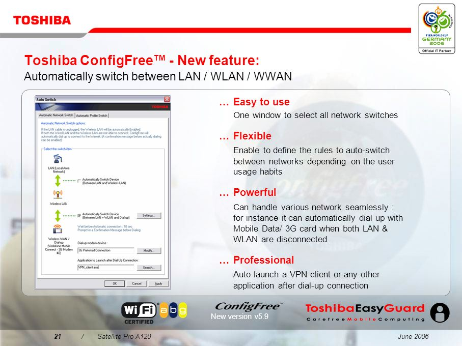 June 200620/Satellite Pro A120 Toshiba ConfigFree Easy connectivity for every environment...Easy to find W-LAN networks using an intuitive interface V
