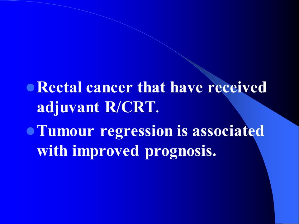 Rectal cancer that have received adjuvant R/CRT. Tumour regression is associated with improved prognosis.
