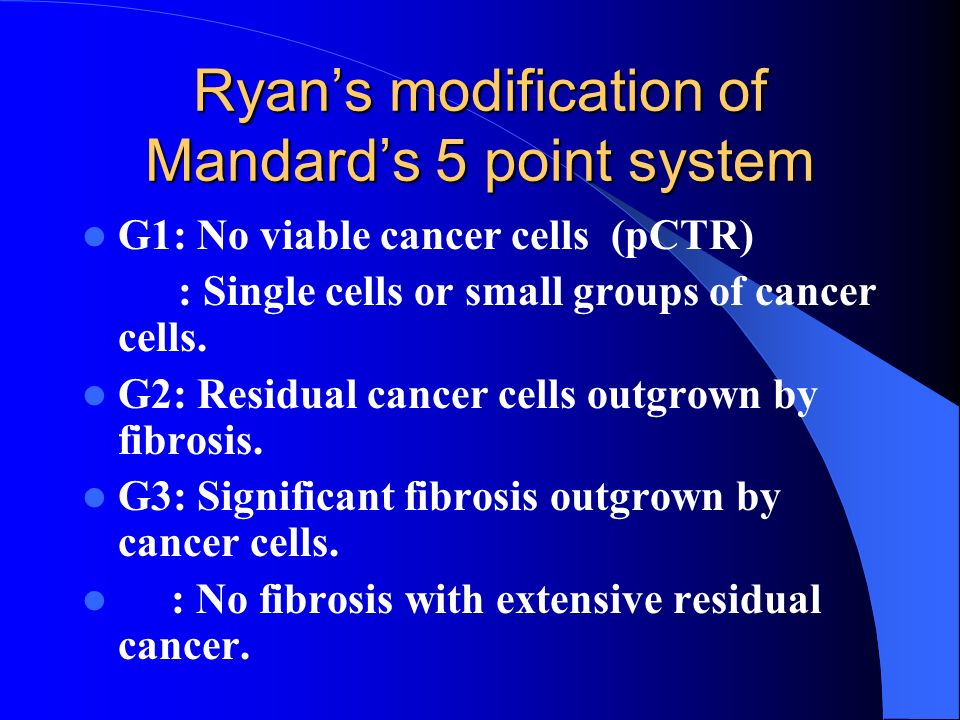 Ryans modification of Mandards 5 point system G1: No viable cancer cells (pCTR) : Single cells or small groups of cancer cells. G2: Residual cancer ce