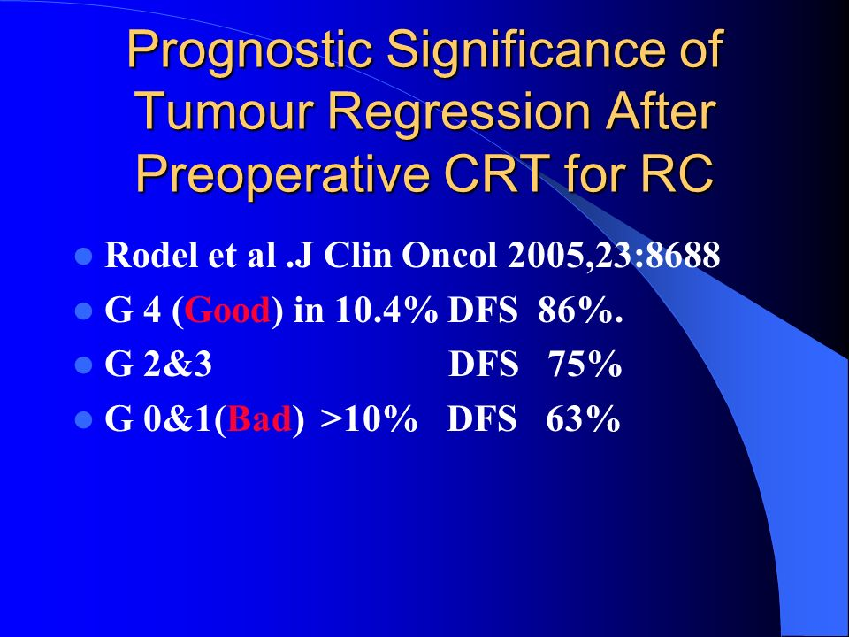 Prognostic Significance of Tumour Regression After Preoperative CRT for RC Rodel et al.J Clin Oncol 2005,23:8688 G 4 (Good) in 10.4% DFS 86%. G 2&3 DF