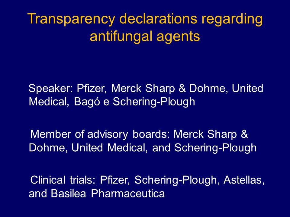 Transparency declarations regarding antifungal agents Speaker: Pfizer, Merck Sharp & Dohme, United Medical, Bagó e Schering-Plough Member of advisory