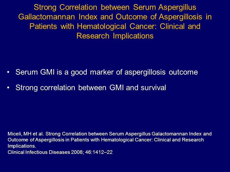 Strong Correlation between Serum Aspergillus Gallactomannan Index and Outcome of Aspergillosis in Patients with Hematological Cancer: Clinical and Res