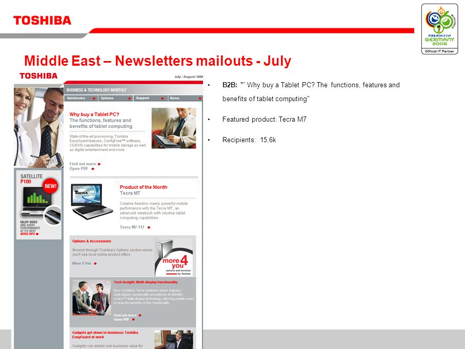 11/ Middle East – Newsletters mailouts - July B2B: Why buy a Tablet PC? The functions, features and benefits of tablet computing