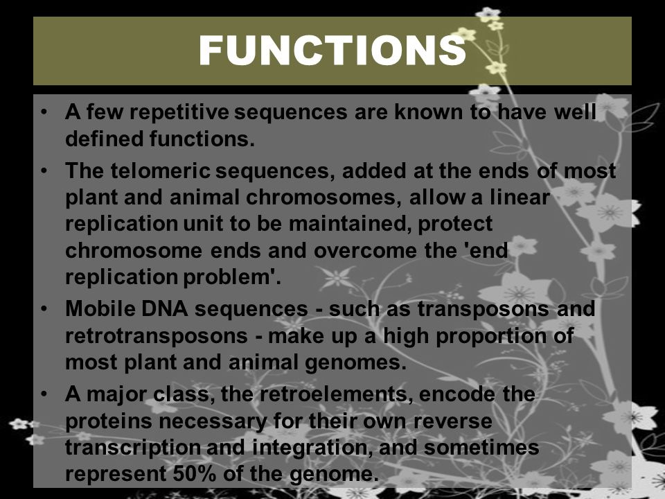 FUNCTIONS A few repetitive sequences are known to have well defined functions. The telomeric sequences, added at the ends of most plant and animal chr