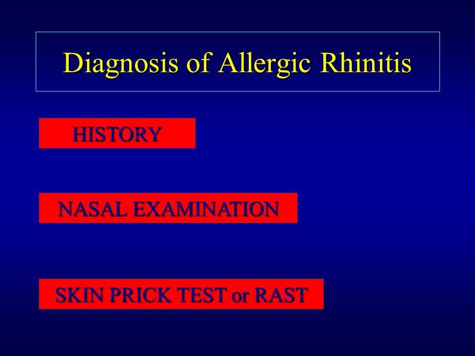 Diagnosis of Allergic Rhinitis HISTORY NASAL EXAMINATION SKIN PRICK TEST or RAST
