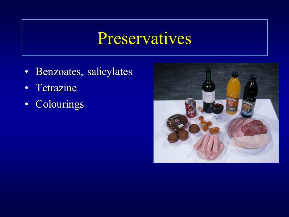 Preservatives Benzoates, salicylatesBenzoates, salicylates TetrazineTetrazine ColouringsColourings