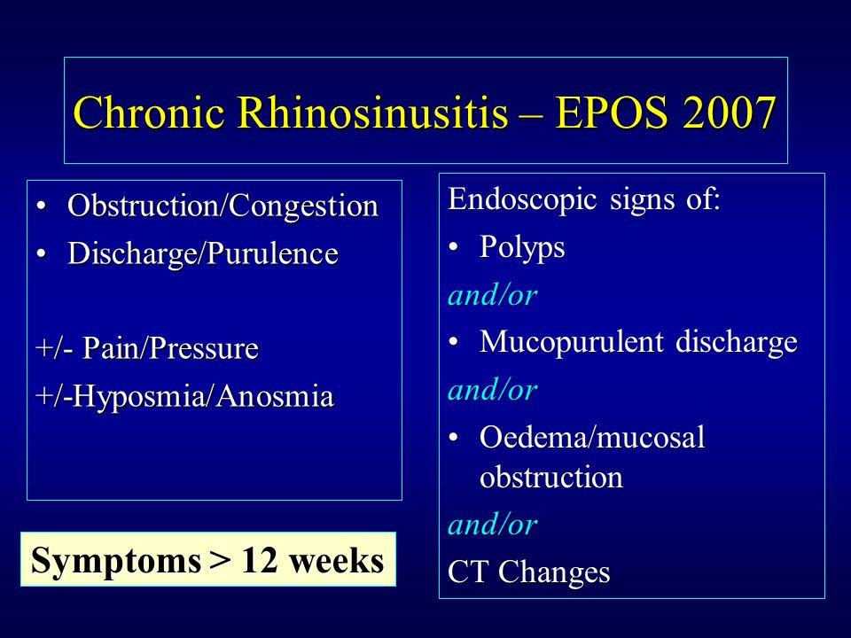 Chronic Rhinosinusitis – EPOS 2007 Obstruction/CongestionObstruction/Congestion Discharge/PurulenceDischarge/Purulence +/- Pain/Pressure +/-Hyposmia/A