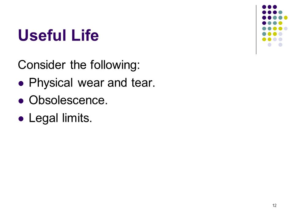 12 Useful Life Consider the following: Physical wear and tear. Obsolescence. Legal limits.