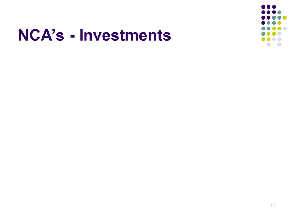 30 NCAs - Investments