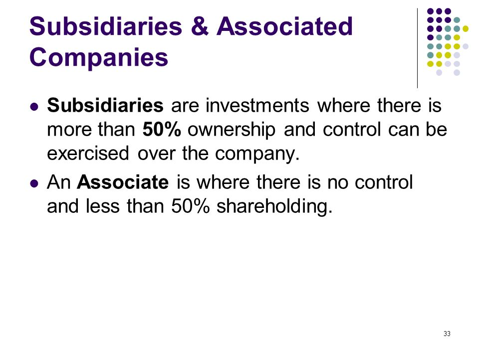 33 Subsidiaries & Associated Companies Subsidiaries are investments where there is more than 50% ownership and control can be exercised over the compa