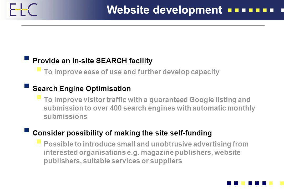 Website development Provide an in-site SEARCH facility To improve ease of use and further develop capacity Search Engine Optimisation To improve visit