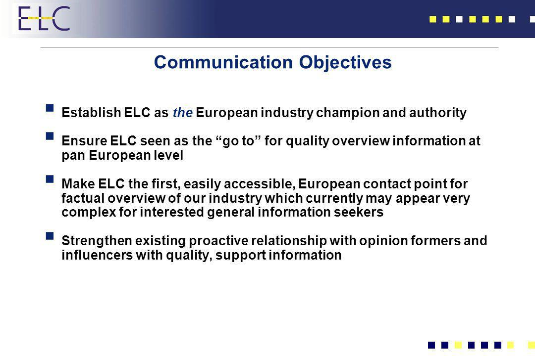 Communication Objectives Establish ELC as the European industry champion and authority Ensure ELC seen as the go to for quality overview information a