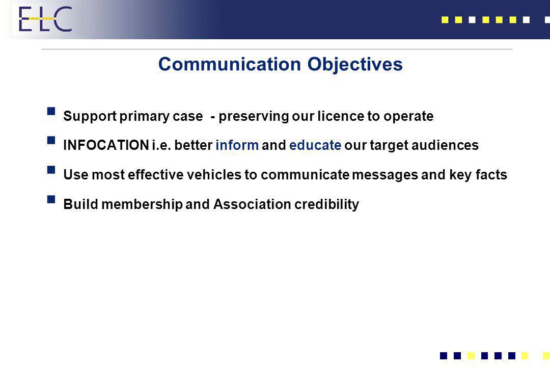 Communication Objectives Support primary case - preserving our licence to operate INFOCATION i.e. better inform and educate our target audiences Use m