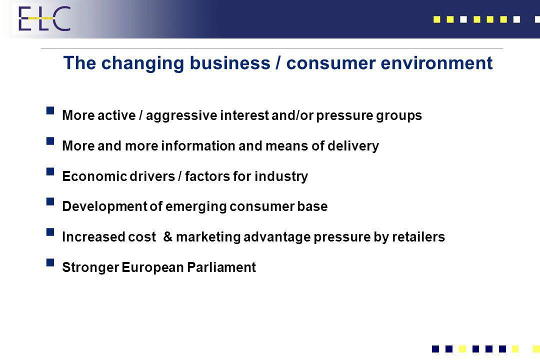 The changing business / consumer environment More active / aggressive interest and/or pressure groups More and more information and means of delivery