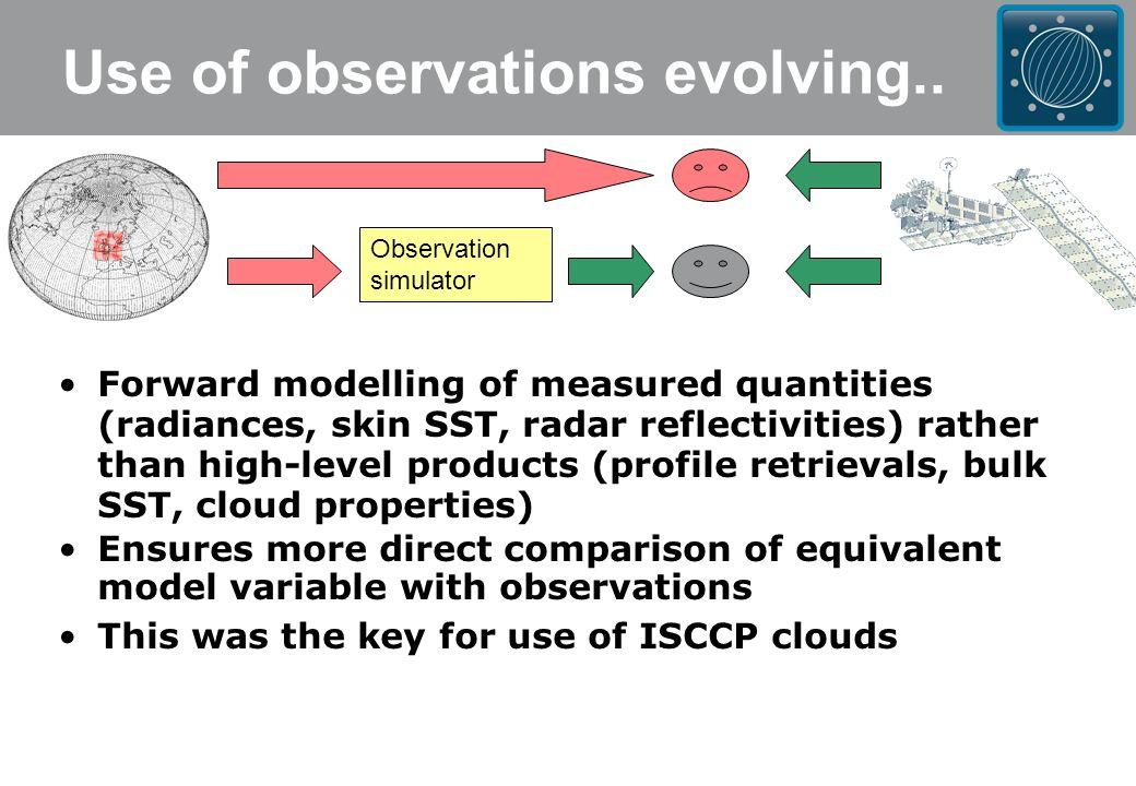 HadGEM1 (MO)MMF 4km (CSU)CloudSat MMF 1km (CSU)LMDZ (CNRS)dBZ>-25 (Bodas-Salcedo et al., submitted to BAMS) Multi-model analysis using satellite simulators