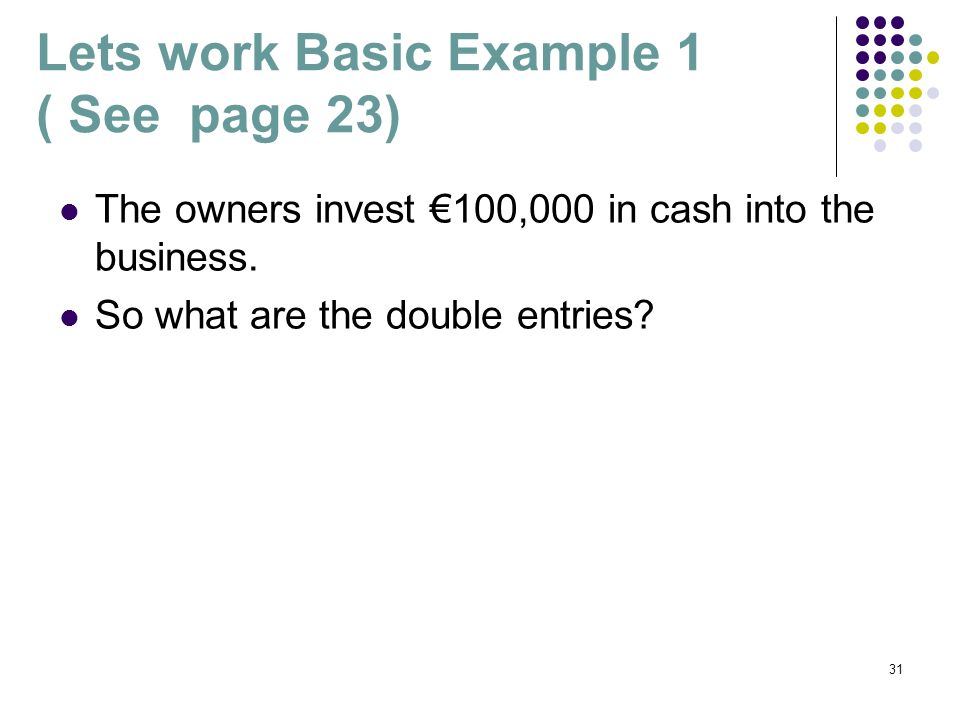 31 Lets work Basic Example 1 ( See page 23) The owners invest 100,000 in cash into the business. So what are the double entries?