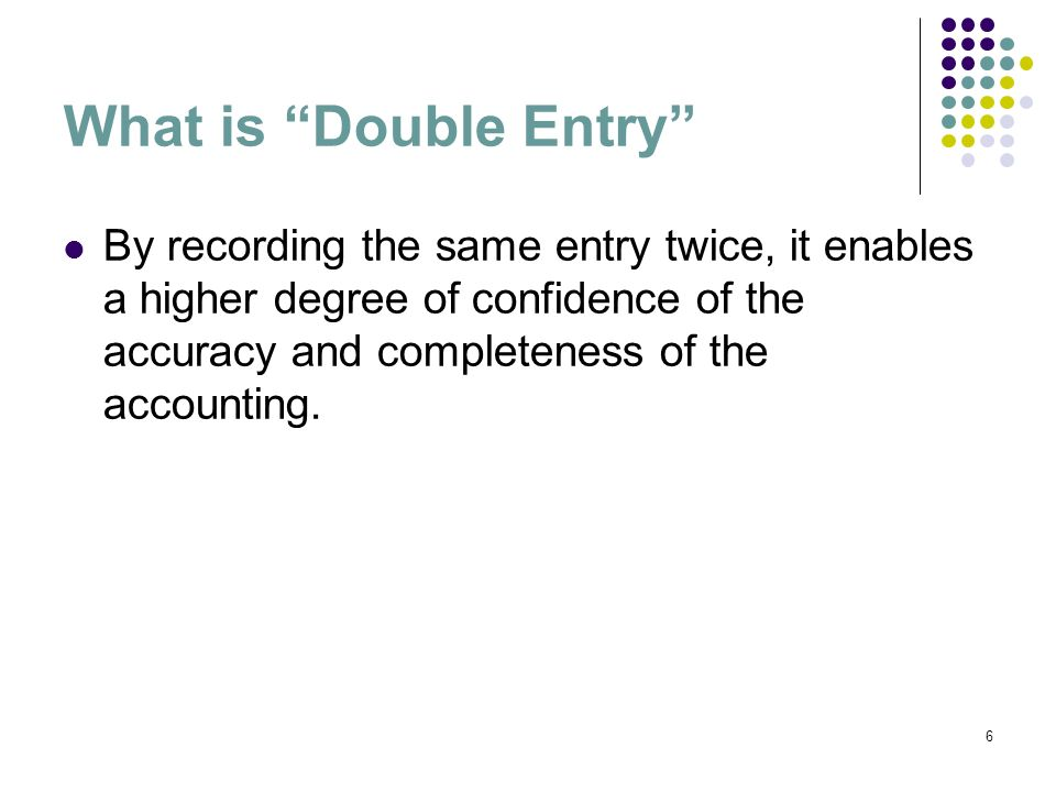 7 Double Entry System Record dual effects of each transaction Each transaction affects at least two accounts Each transaction is recorded with at least One debit One credit Total debits must equal total credits