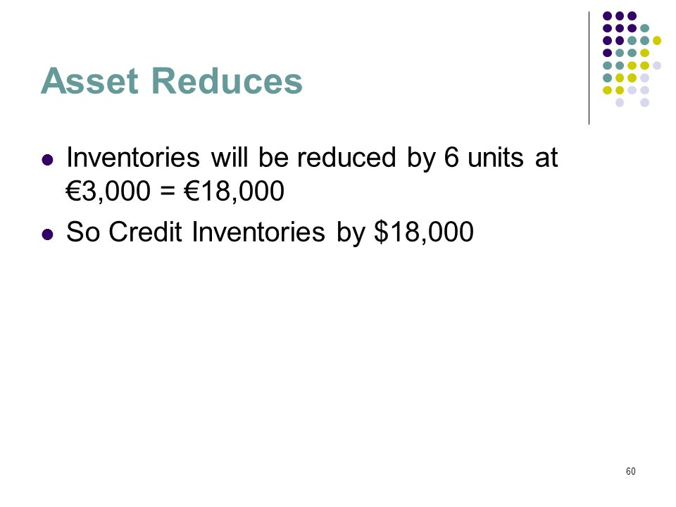 60 Asset Reduces Inventories will be reduced by 6 units at 3,000 = 18,000 So Credit Inventories by $18,000