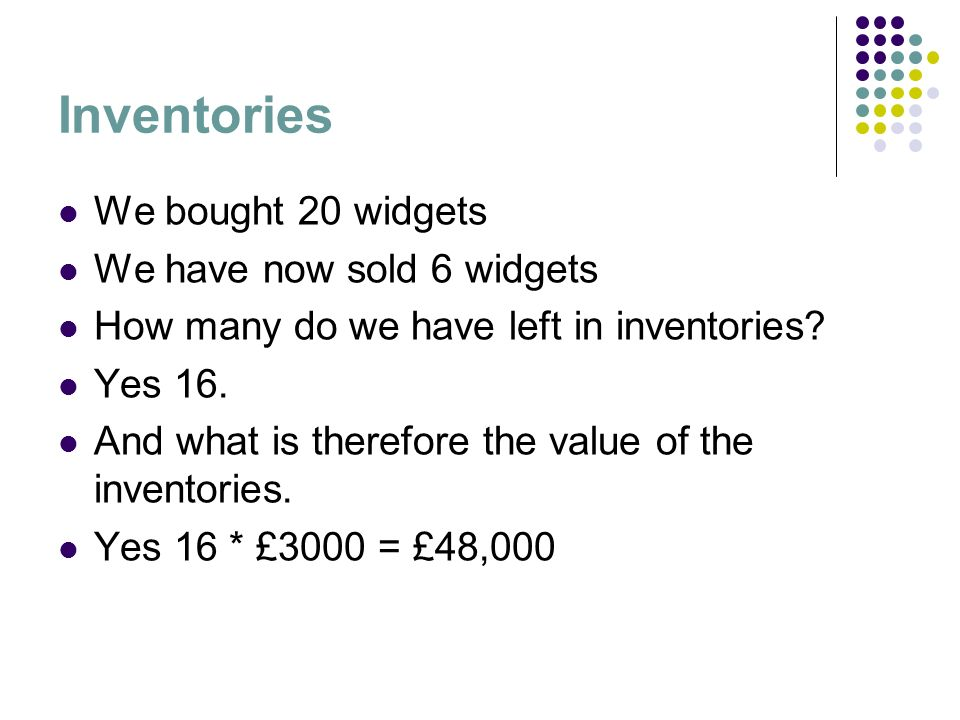 Inventories We bought 20 widgets We have now sold 6 widgets How many do we have left in inventories? Yes 16. And what is therefore the value of the in