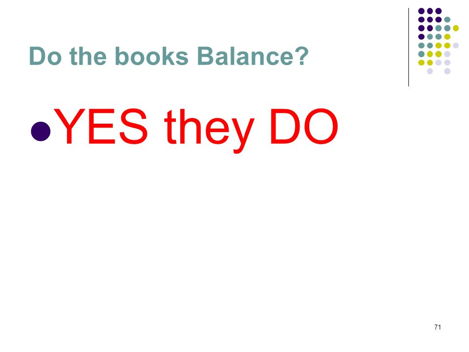 71 Do the books Balance? YES they DO