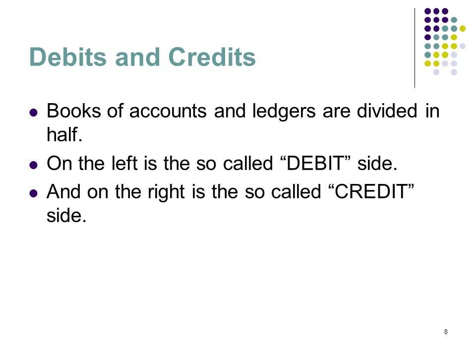 29 Debit/credit Revenue Shareholder Equity Liabilities Expenses Assets CreditDebitAccount How debits and credits affect the different elements of the accounts.