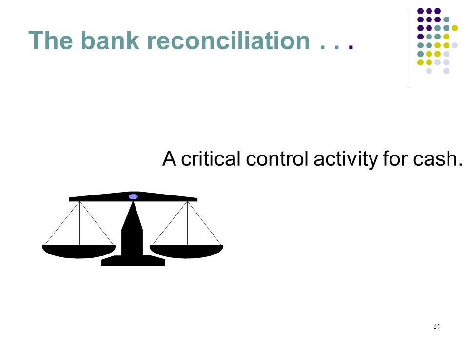 81 The bank reconciliation... A critical control activity for cash.