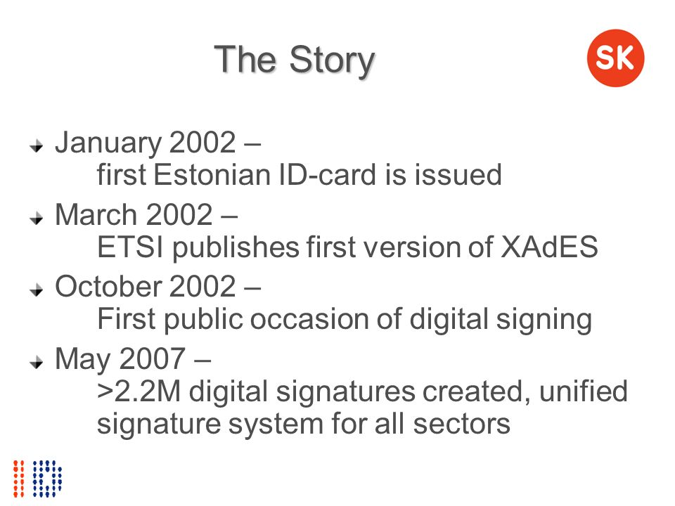 The Story January 2002 – first Estonian ID-card is issued March 2002 – ETSI publishes first version of XAdES October 2002 – First public occasion of d