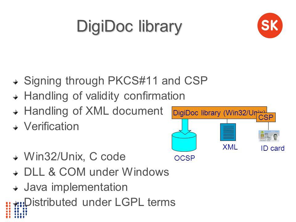 DigiDoc library Signing through PKCS#11 and CSP Handling of validity confirmation Handling of XML document Verification Win32/Unix, C code DLL & COM u