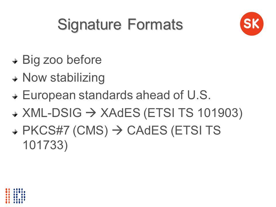 Signature Formats Big zoo before Now stabilizing European standards ahead of U.S. XML-DSIG XAdES (ETSI TS 101903) PKCS#7 (CMS) CAdES (ETSI TS 101733)
