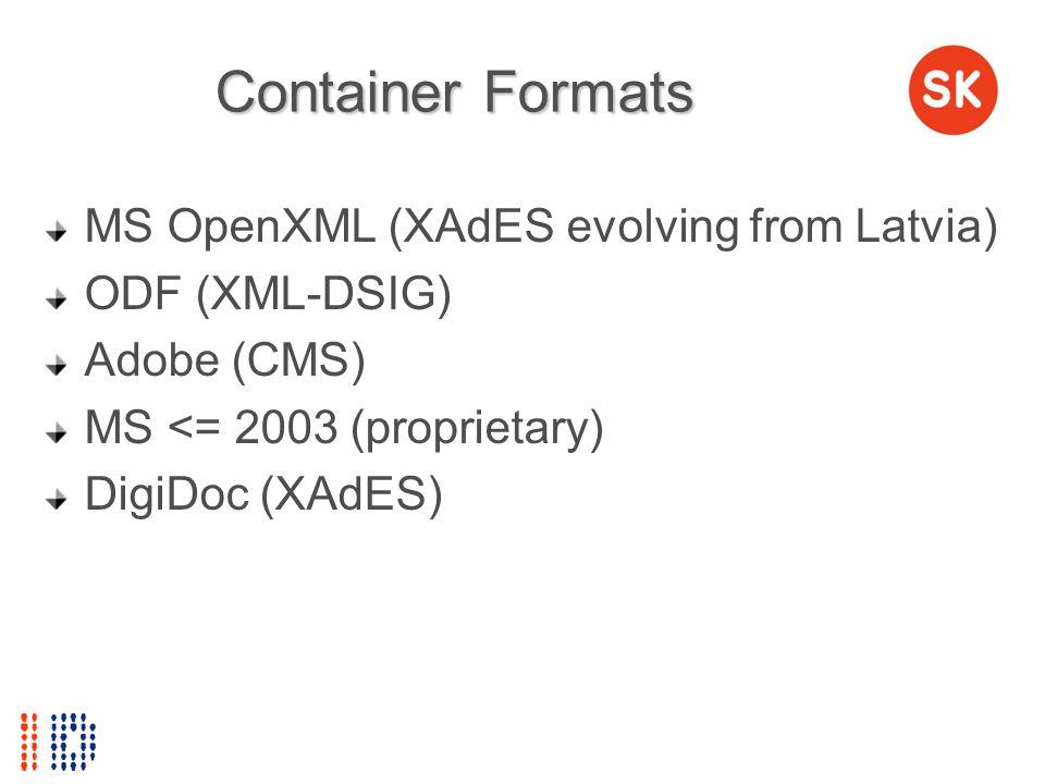 Container Formats MS OpenXML (XAdES evolving from Latvia) ODF (XML-DSIG) Adobe (CMS) MS <= 2003 (proprietary) DigiDoc (XAdES)