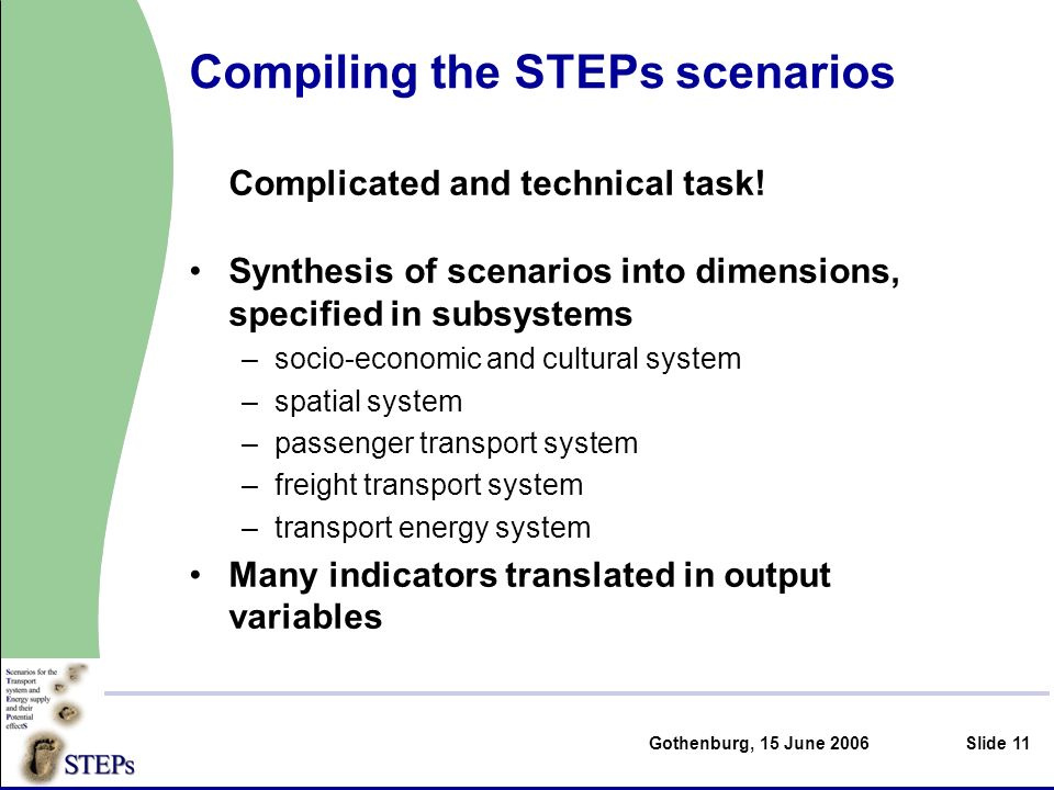 Gothenburg, 15 June 2006Slide 11 Compiling the STEPs scenarios Complicated and technical task.