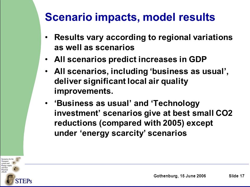 Gothenburg, 15 June 2006Slide 17 Scenario impacts, model results Results vary according to regional variations as well as scenarios All scenarios predict increases in GDP All scenarios, including business as usual, deliver significant local air quality improvements.