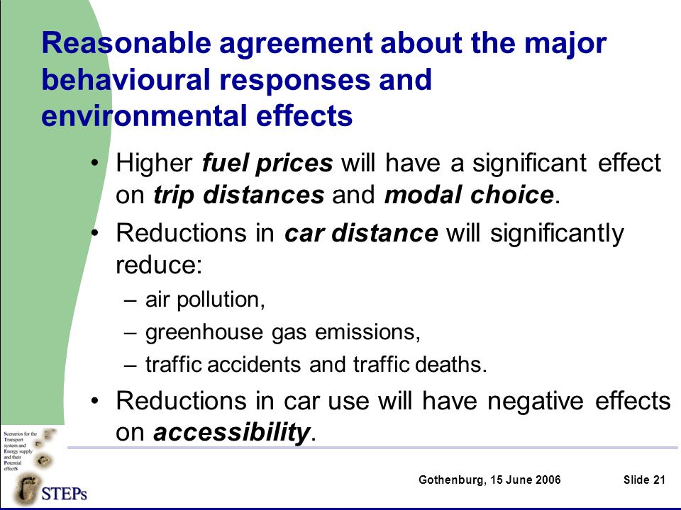 Gothenburg, 15 June 2006Slide 21 Higher fuel prices will have a significant effect on trip distances and modal choice.