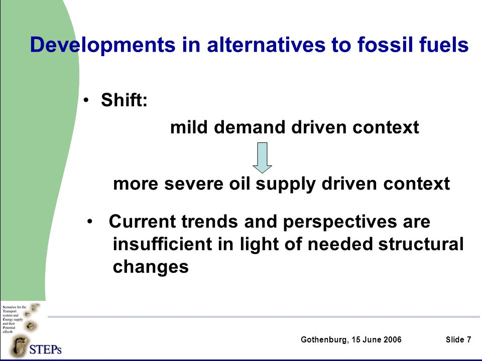 Gothenburg, 15 June 2006Slide 7 Developments in alternatives to fossil fuels Shift: mild demand driven context more severe oil supply driven context Current trends and perspectives are insufficient in light of needed structural changes