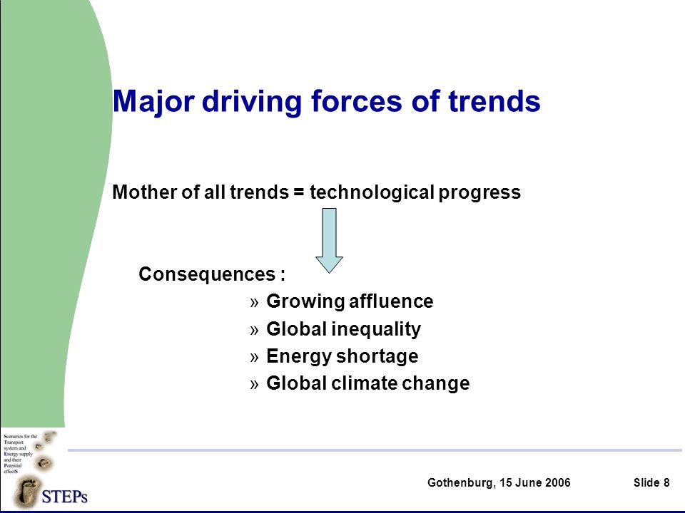 Gothenburg, 15 June 2006Slide 8 Major driving forces of trends Mother of all trends = technological progress Consequences : »Growing affluence »Global inequality »Energy shortage »Global climate change