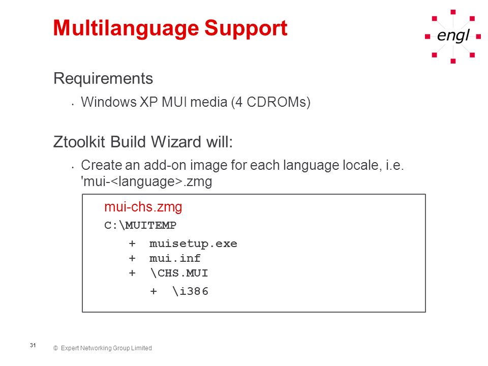 © Expert Networking Group Limited 31 Multilanguage Support Requirements Windows XP MUI media (4 CDROMs) Ztoolkit Build Wizard will: Create an add-on i