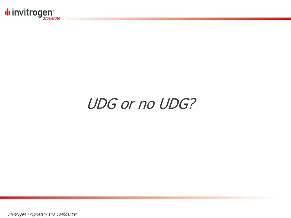 Invitrogen Proprietary and Confidential UDG or no UDG?