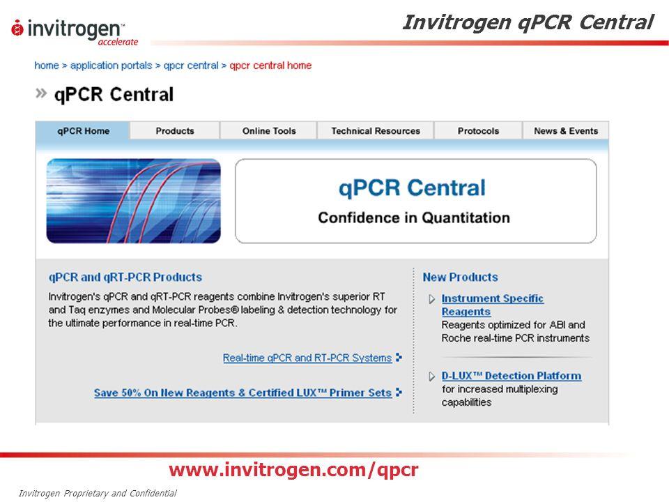 Invitrogen Proprietary and Confidential Invitrogen qPCR Central www.invitrogen.com/qpcr