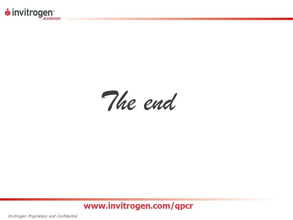 Invitrogen Proprietary and Confidential The end www.invitrogen.com/qpcr