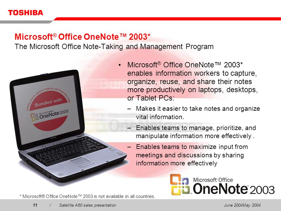 June 2004May 200411/Satellite A60 sales presentation11 Microsoft ® Office OneNote 2003* The Microsoft Office Note-Taking and Management Program Micros