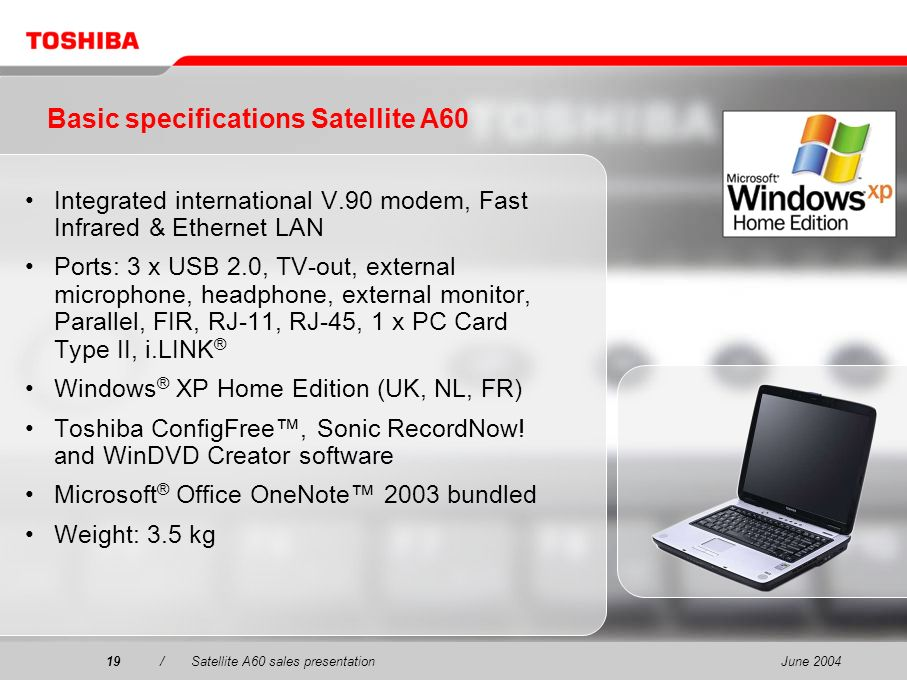 June 200419/Satellite A60 sales presentation19 Basic specifications Satellite A60 Integrated international V.90 modem, Fast Infrared & Ethernet LAN Po
