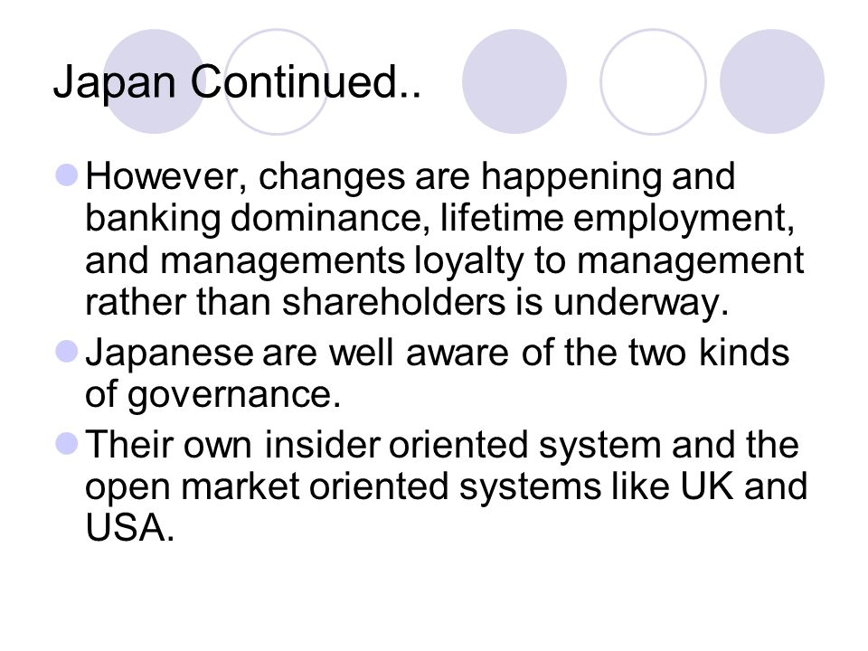 Japan Continued.. However, changes are happening and banking dominance, lifetime employment, and managements loyalty to management rather than shareho