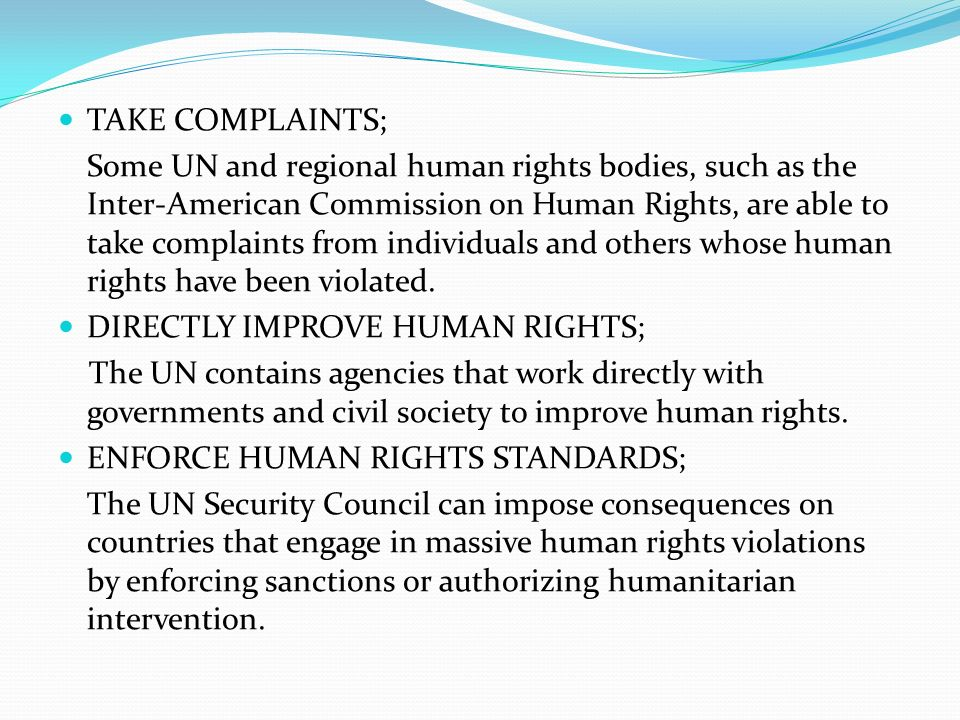 TAKE COMPLAINTS; Some UN and regional human rights bodies, such as the Inter-American Commission on Human Rights, are able to take complaints from individuals and others whose human rights have been violated.